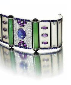 An Art Deco chalcedony, sapphire, amethyst and diamond bracelet, late 1920s.
