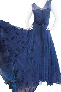 Late 1940s Norman Hartnell Attr Couture Net Gown at 1stdibs Vintage Wear 1d56d4b40