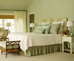 Top Two Ideas for Your Sage Green Bedrooms. bedskirt, bed spread, headboard.