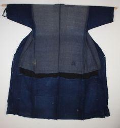 Japanese antique boro indigo dye cotton Patched sashiko noragi kimono