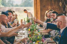 Bright Summer Flowers & Stripes at a Cotswold Wedding: Dylan Viljoen & Duncan Ter Morshuizen | Real wedding inspiration | Rob Tarren Photography. www.weddingsite.co.uk