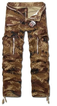 Men Military Print Pants, Multi Pocket Camouflage Cargo Trousers