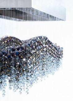 Glistening Blue Eva Menz Design Chandelier Dining Room Crystal bespoke Luxury