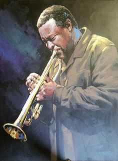 Jazz player Jazz Players, Violin, Music Instruments, Portraits, Painting, Art, Musical Instruments, Art Background, Head Shots
