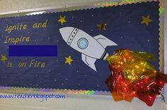 Space bulletin boards - 25 Out of This World SpaceThemed Classroom Ideas – Space bulletin boards Rocket Bulletin Boards, Space Bulletin Boards, Summer Bulletin Boards, Classroom Bulletin Boards, Classroom Door, Classroom Displays, Classroom Ideas, March Bulletin Board Ideas, Literacy Display