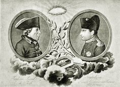 Frederick the Great and Napoleon together in an allegorical engraving. Source: http://valinaraii.tumblr.com