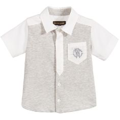 Baby boys sweet short-sleeved shirt by<span>Roberto Cavalli. Made in an ivory smooth, lightweight cotton on the back and sleeves. The cotton jersey front has grey stripes with smooth cotton details and button fastenings. The ivory cotton, chest pocket has a grey embroidered 'RC' logo.<br /></span> <ul> <li>97% cotton, 3% elastane (smooth lightweight feel with jersey on the front)</li> <li>Machine wash (30*C)</li> <li>Button fastenings</li> </ul>