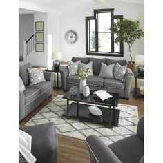 Domani Ottoman Charcoal Heather Gray - Signature Design by Ashley Small Living Room Design, Living Room Decor Cozy, Living Room Grey, Living Room Sets, Interior Design Living Room, Home And Living, Living Room Designs, Modern Living, Grey Living Room Furniture