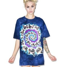 Grumpy Cat Spiral Tee EUC!  Marbled blue The Mountain tee, decorated with navy and purple swirl tie dye design, and featuring the queen of sass, Grumpy Cat. Hardly worn, still in great condition, and made to last a long time.  Featured on Dolls Kill. The Mountain Tops Tees - Short Sleeve