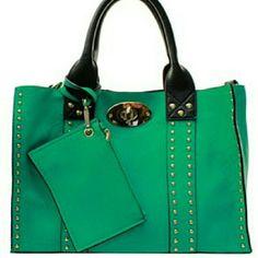 Handbag Teal green 2 in 1 handbag with rhinestones and detachable cosmetic bag inside and wallet Bags Totes