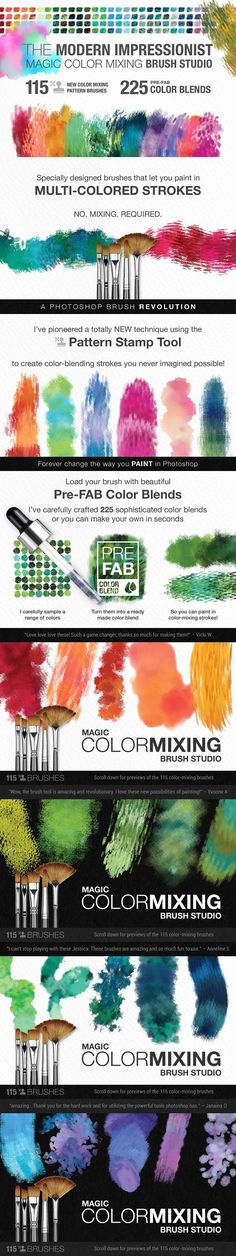 Photoshop Brushes & Tutorial Series: Color mixing and watercolor blends! Perfect for illustrations, graphic design, printables and designs for sale! digital art, digital illustration, photoshop painting, photoshop brushes, digital painting, watercolor, digital watercolor. Bonus tips, tricks and hacks for photoshop brushes! https://crmrkt.com/96MPv