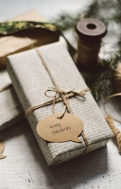 Get in the holiday spirit! As you're buying gifts, add a personal touch with Unique 50 Christmas gift wrapping ideas! Upcycled Kraft Paper Gift Wrapping Ideas From: The Found and The Fancy How to P… Christmas Chalkboard, Merry Christmas Card, Unique Christmas Gifts, Christmas Gift Wrapping, Christmas Presents, Holiday Gifts, Christmas Crafts, Christmas Decorations, Natural Christmas