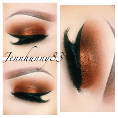 copper blended into warm brown with thick winged eyeliner #fall #makeup @jennhunny83