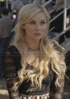 Scarlett's black lace long sleeve crop top on Nashville-love it