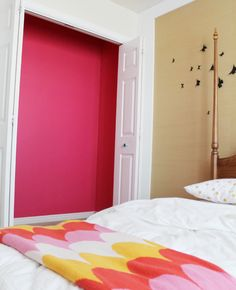 Awesome idea! Paint inside the closet before you do she shelves and put the clothing in! Nice pop of color!