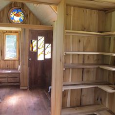 Owl Creek Happenings: Tumbleweed Tiny House II--The owner opted for an outdoor shower and toilet to make the the kitchen larger with great shelving storage.