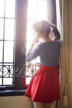 red skirt, striped shirt