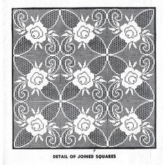 Vintage Filet Crochet Pattern for Filet Crochet Rose Tablecloth Bedspread Squares Instant Download PDF Crochet Patterns Filet, Crochet Diagram, Crochet Stitches, Crochet Hooks, Cross Stitch Patterns, Diy Crochet Tablecloth, Crochet Doilies, Wedding Dress Sewing Patterns, Easy Knit Baby Blanket