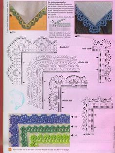 Schemi di bordi crochet con angoli, utili per copertine e tovagliette / Crochet edges with corner useful for baby blankets and placemats, free patterns Crochet Edging Patterns, Crochet Lace Edging, Crochet Blocks, Crochet Borders, Crochet Diagram, Crochet Chart, Thread Crochet, Crochet Trim, Crochet Designs