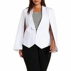 NWT Trendy Womens Plus Size Charlotte Russe White Cape Blazer 2X #CharlotteRusse #Blazer