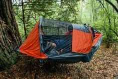 """Touted as """"the only camping hammock that sleeps two occupants comfortably,"""" the Vertex Double Hammock Tent lets you share the rest nest with that special Camping Hacks, Camping Bedarf, Camping World, Camping Survival, Family Camping, Outdoor Camping, Outdoor Gear, Camping Ideas, Camping Storage"""