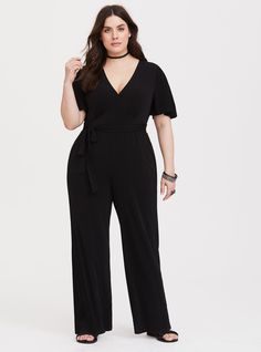 505797c92699 Black Wide Leg Jersey Knit Jumpsuit - A self-tie sash defines your waist in