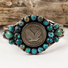 HALE Navajo - Old Coin Silver Bracelet Sterling Silver Turquoise Native American #NativeAmerican