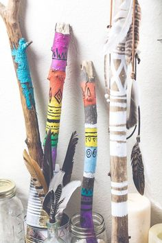 This is one I've always wanted to try, it's a two part DIY. For the first part all you need is: Paint Sticks Paint Brush Paint away! When the paint has dried yo