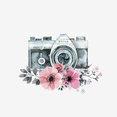 photo editing,photo manipulation,photo creative,camera effects Camera Drawing, Camera Art, Watercolor Print, Watercolor Paintings, Kamera Tattoos, Art Sketches, Art Drawings, Frame Floral, Illustration Tumblr
