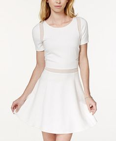 In Awe of You by Awesomeness TV Juniors' Ponte-Knit Illusion Fit-and-Flare Dress - Juniors Dresses - Macy's