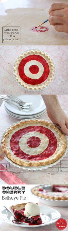 It's National Pi Day! Celebrate with this Double Cherry Bullseye pie! It even has a hand painted crust. http://www.inspiredbycharm.com/2014/03/double-cherry-bullseye-pie-national-pi-day.html