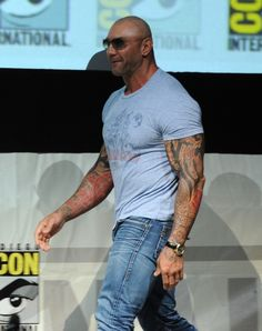 """Comic-Con 2013: Marvel Studios Panel Actor Dave Bautista speaks onstage at Marvel Studios """"Guardians of the Galaxy"""" during Comic-Con International 2013 at San Diego Convention Center on July 20, 2013 in San Diego, California. (Photo by Kevin Winter/Getty Images)"""