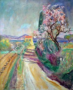 """Charles Camoin, """"La route du Pinet à l'amandier fleuri""""."""