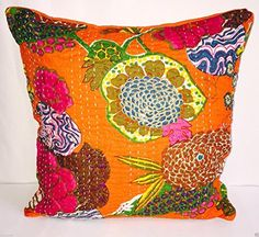 Indian Floral Home Décor Handmade Thread Embroidery Cotton Cushion Covers Block Printed Throw Pillow Patchwork Sari Ethnic…