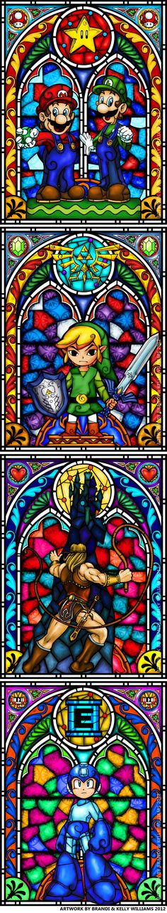 Stained glass style Nintendo characters (designed by Brandi Williams and her husband for their wedding)