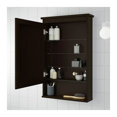 HEMNES Meuble avec miroir 1 porte - teinté brun-noir - IKEA