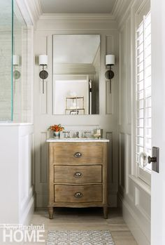 A Restoration Hardware Vanity Resembles A Piece Of Furniture Perfectly Fitting Its Niche In The Small Bathroom