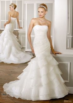 Ruffle skirt draped bodice wedding dress by Mori Lee, Spring 2011 bridal collection - Beaded Organza. Removable one shoulder strap.