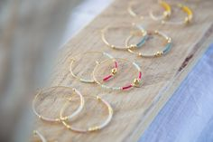 Items similar to Large earring hoops Summertime / Gold plated earrings, summer hoops, Miyuki & golden beads - Pastel tones and colors, summer shades on Etsy Beaded Earrings, Earrings Handmade, Beaded Jewelry, Handmade Jewelry, Resin Jewelry, Jewelry Crafts, Bracelet Couple, Diy Jewelry Inspiration, Bijoux Diy