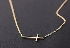 :: sideways cross necklace