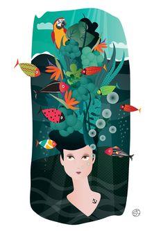 Summer under water   Illustration by Stefania Tomasich