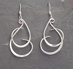 Sterling Dangle Earrings - Handmade Forged Dangles - CURLY Q