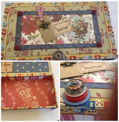 French Altered Cigar Box  Anna Griffin Papers By Rita Chiappetta