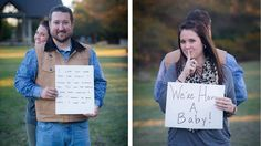 """Photographer Kendra Swalls had an idea she had always wanted to try. During a husband-wife photo shoot, she captured the moment when the husband read the words, """"We've having a baby!"""""""