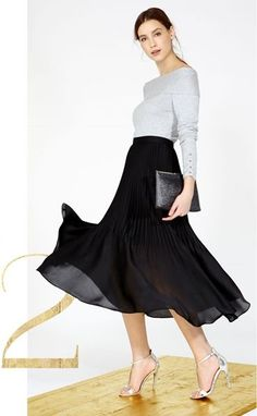 christmas look knit top + delicate pleated skirt