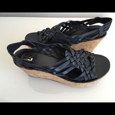 """TORY BURCH KILLIAN  LEATHER CORKI WEDGE PLATFORM TORY BURCH KILLIAN  NAVY LEATHER CORKI WEDGE PLATFORM SANDAL, SIZE 10.5, HEIGHT HEEL 3"""", PLATFORM 1.5"""", GOLDSTONE EMBOSSED TORY BURCH EMBLEM ON INSOLE, BRAND NEW WITH BOX AND DUST BAG Tory Burch Shoes Platforms"""