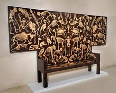 FROM THE 'PERISHED' COLLECTION Studio Job Designed by 'STUDIO JOB' Job Smeets (b.1970 Belgium) & Nynke Tynagel (b.1977 the Netherlands) An Edition of Six Made in the Netherlands A hand crafted museum quality bench of Macassar Ebony inlaid with Birds Eye Maple