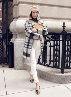 "madewell plaid florence coat worn with the 9"" high riser skinny skinny jeans, madewell & owen barry™ shearling trapper hat + mira flat. #denimmadewell"
