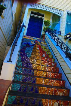 Broken glass mosaic-- an art deco Stairway to Heaven. Wow, this is beautiful, could I do this with the stairs in my house? Better test outside first Mosaic Art, Mosaic Glass, Mosaic Tiles, Mosaics, Stained Glass, Mosaic Floors, Mosaic Bathroom, Design Bathroom, Glass Art