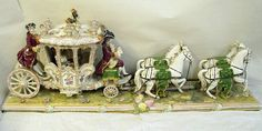 Vintage Volkstedt Porcelain Dresden Lace, Horse Drawn Carriage Figurine, PERFECT #Volkstedt